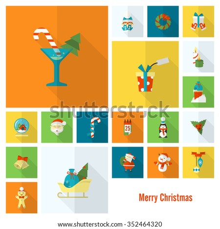 Christmas and Winter Icons Collection. Colorful. Long Shadow. Simple and Minimalistic Style. Vector - stock vector
