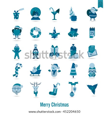 Christmas and Winter Icons Collection. Monochrome color. Simple and Minimalistic Style. Vector - stock vector