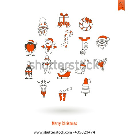 Christmas and Winter Icons Collection. Simple and Minimalistic Style. Vector - stock vector