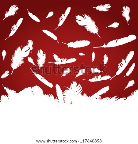 Christmas Angel feathers like a snowflakes vector background - stock vector