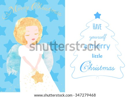 Christmas Angel greeting card. Cute little Angel with golden hair and a Star. Lettering about Christmas. Watercolor textures, original vector illustration - stock vector