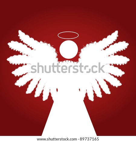 Christmas Angel made of feather vector red background - stock vector