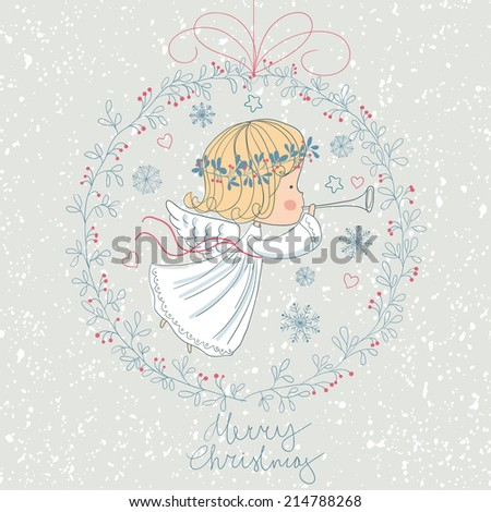 Christmas angel with trumpet. - stock vector