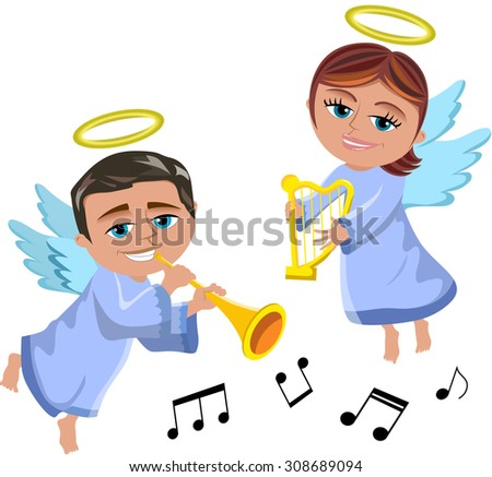 Christmas angels flying and playing trumpet and harp isolated  - stock vector
