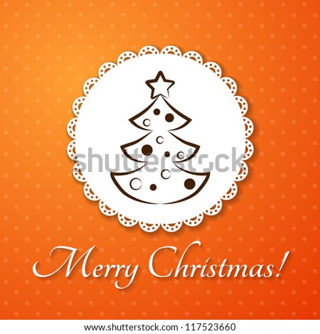 Christmas applique card / background. Badge with fir-tree on orange background - stock vector