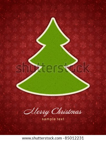 Christmas applique with tree vector background. Eps 10. - stock vector