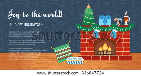 Christmas attributes. Christmas holidays. Horizontal Christmas gift card. Joy to the world. Flat design. Vector illustration - stock vector