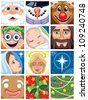 Christmas Avatars: Set of 12 Christmas avatars. No transparency and gradients used. - stock vector