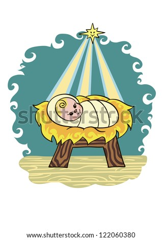 Baby Jesus Lying In A Manger On Straw He Smiles At The Star