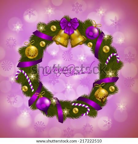Christmas background - a wreath of fir branches, bow, balls, baubles, gifts, lollipops for greeting card, invitation. Christmas festive bokeh background. Vector illustration EPS10. - stock vector
