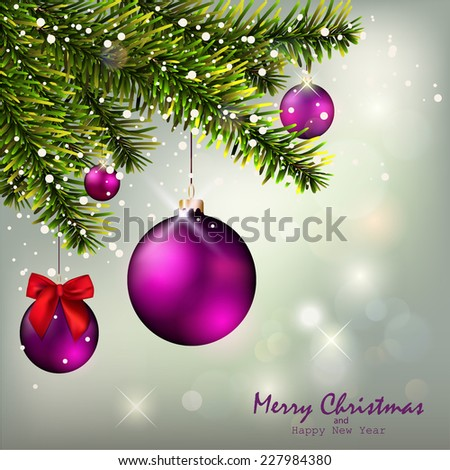 Christmas Background and Christmas fir tree  - stock vector