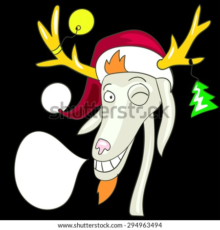 Christmas background and greeting card with cartoon deer and voice bubble - stock vector