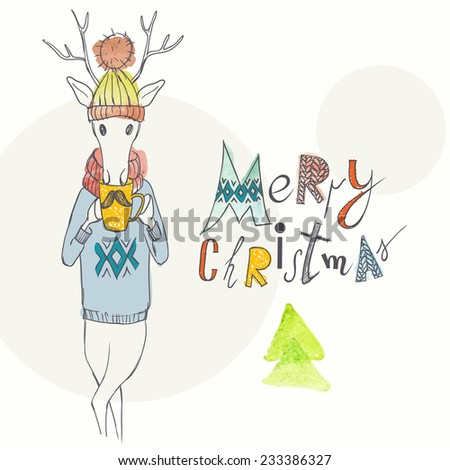 Christmas Background And Greeting Card With Deer On Hipster Style, Eps 10 Vector Illustration