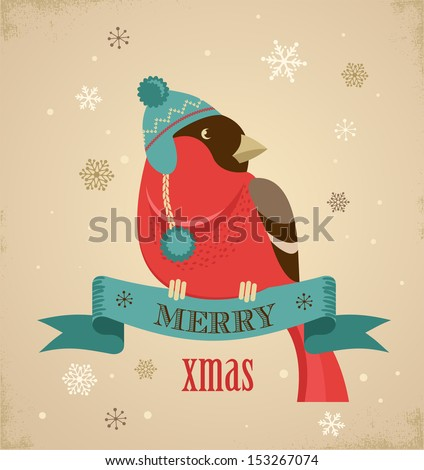 Christmas background and greeting card with hipster  bullfinch - stock vector