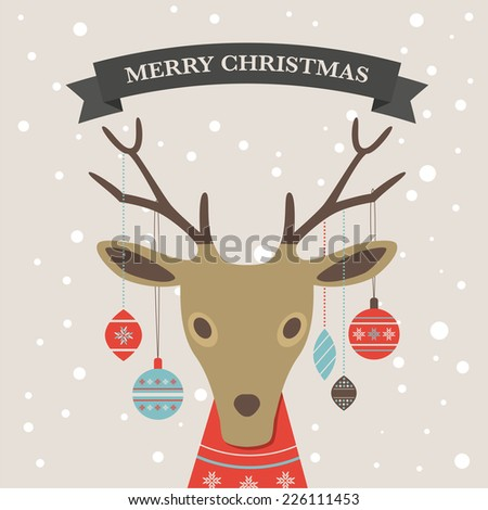 Christmas background and greeting card with reindeer.