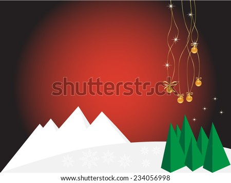christmas background and mountains  - stock vector