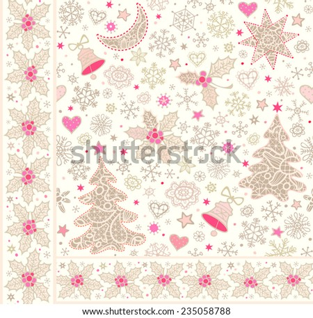 Christmas background and sprigs of holly border. Seamless pattern with  lacy xmas trees, moon, stars, bells and snowflakes. Vector illustration.