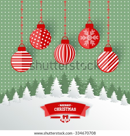 Christmas background applique with paper. Vector illustration - stock vector