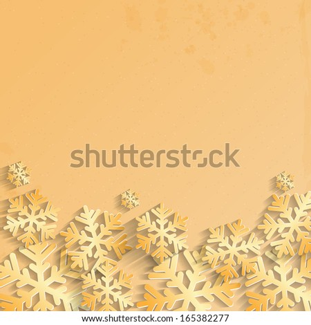 Christmas background.background for New Year's greetings.winter abstraction.gold snowflakes on grunge background.vector