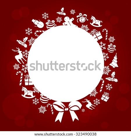 Christmas Background. Christmas Ball made of Christmas icons and symbols - stock vector