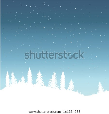 Christmas background, colorful winter forest
