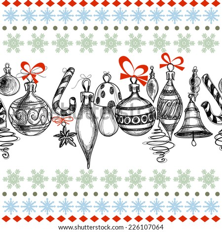 Christmas background, decorations seamless pattern - stock vector