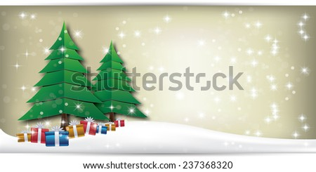 Christmas background design with tree and stars