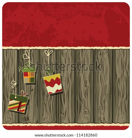 Christmas background. Gift boxes on the wooden background - stock vector