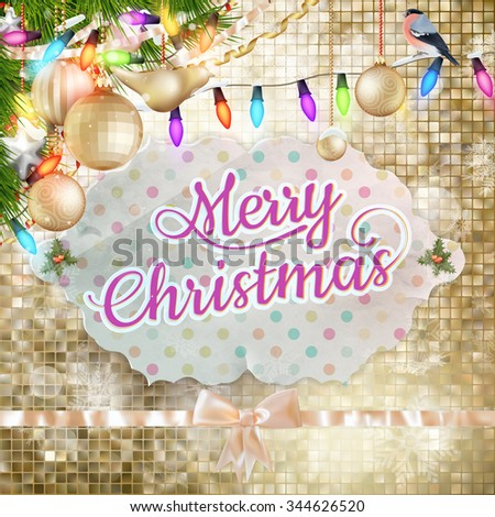 Christmas Background. Golden Holiday Abstract Glitter Background With Blinking mosaic. Blurred Bokeh. EPS 10 vector file included - stock vector