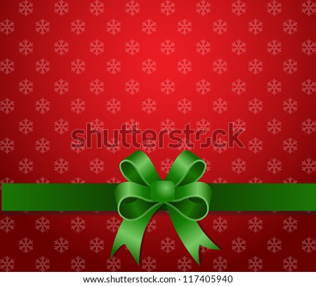 christmas background green ribbon - stock vector
