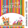 Christmas background. Greeting card with gift box. vector illustration - stock vector