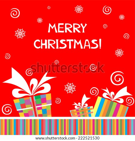 Christmas background. Greeting card with gift box. vector illustration
