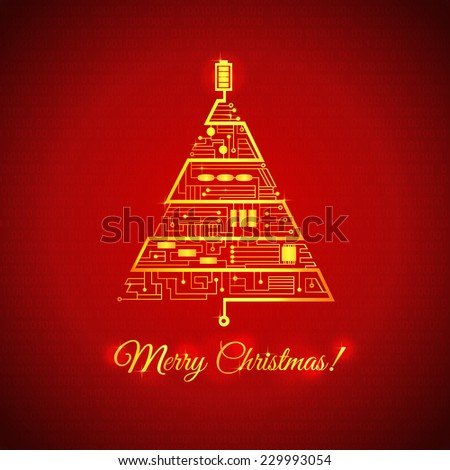 Christmas background, greeting card with the Christmas tree in the form of the motherboard circuitry - stock vector
