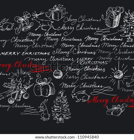 christmas background - hand drawn collection - stock vector