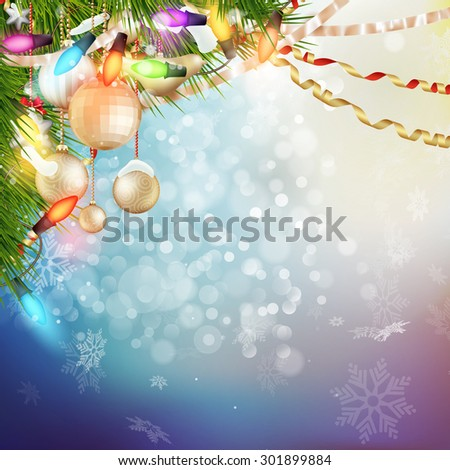 Christmas Background. Holiday Abstract Glitter Defocused Background With Blinking Stars. Blurred Bokeh. EPS 10 vector file included - stock vector