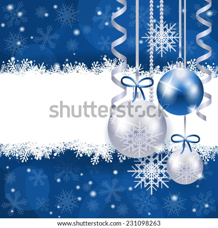 Christmas background in blue and silver with copy space, vector eps 10