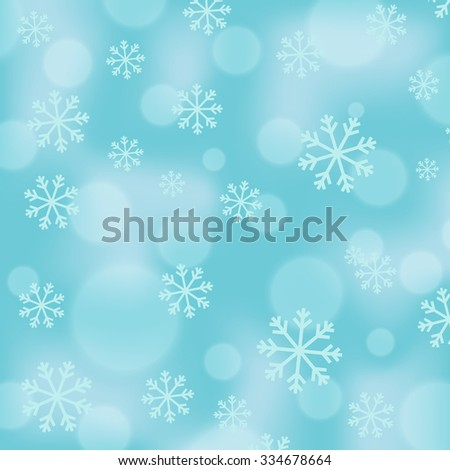 Christmas background in light blue cyan color with snowfall and bokeh effects. Snowflake patterned light background with space for text.  Winter vector background with random size flakes and lights. - stock vector