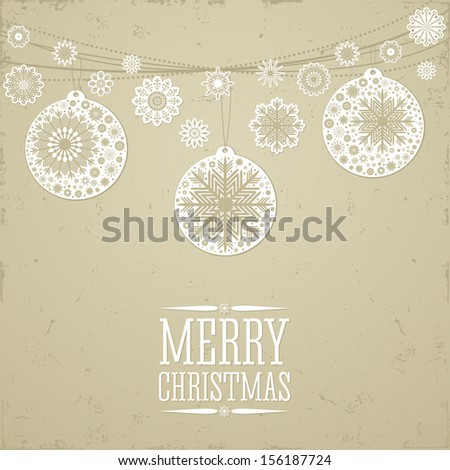 Christmas background in retro style with toys and place for text. Imitation paper. Soft colors.  - stock vector