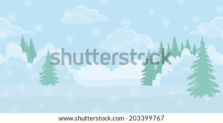 Christmas background landscape, winter white forest with snow and blue sky with clouds. Vector