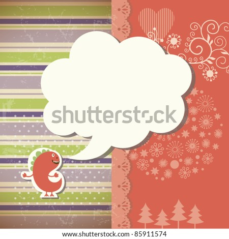 Christmas background, little dragon and speech bubble