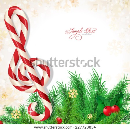 Christmas background music - stock vector