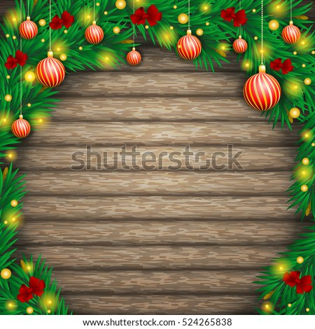 Christmas background of boards in an arch of fir branches, decorated with ribbons, balls and lanterns.