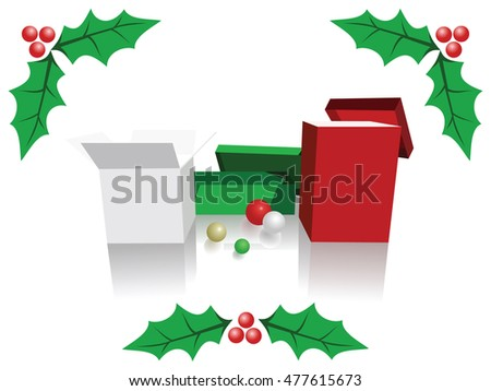 Christmas background of green, white and red boxes, holly leaves and fruits