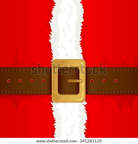 Christmas background of Santa suit with belt and gold buckle, illustration. - stock vector