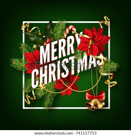 Christmas background or greeting poster template with holidays elements.