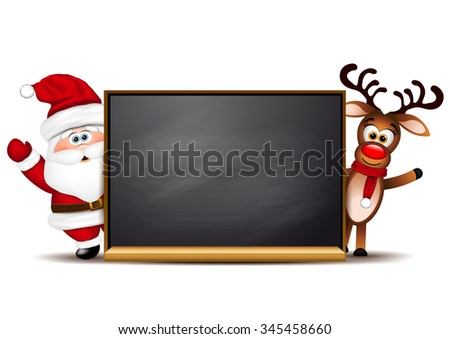 Christmas background reindeer and Santa Claus. - stock vector