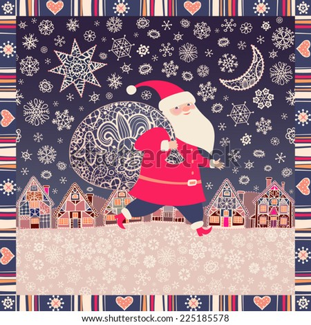Christmas background. Santa Claus with a sack of Christmas gifts. Little town, lacy Xmas star, moon, and snowflakes. Vector illustration - stock vector