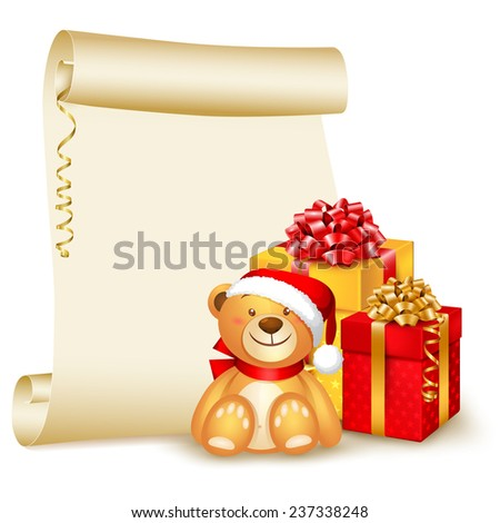 Christmas background, scroll with cute teddy bear and gifts - stock vector