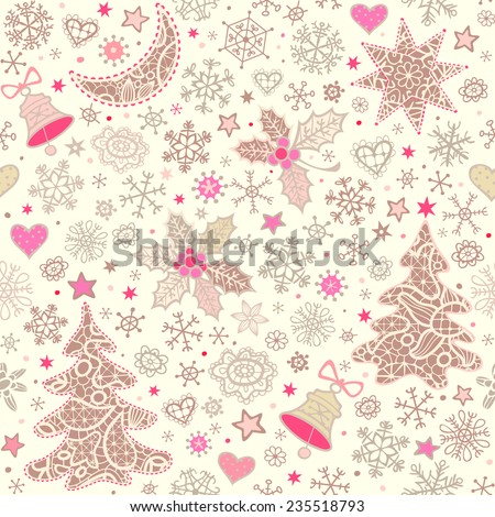 Christmas background. Seamless pattern with holly, lacy xmas trees, moon, stars, bells and snowflakes. Vector ornament.