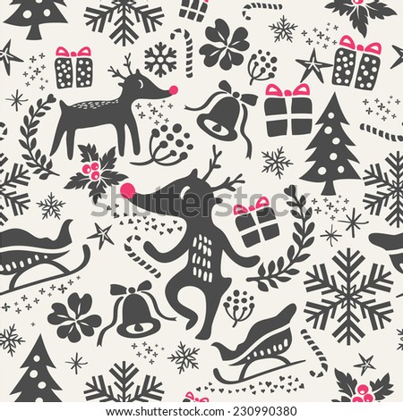 christmas background seamless tiling for wrapping paper pattern - stock vector